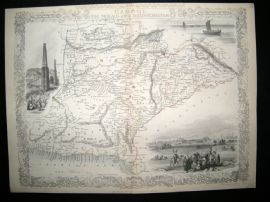Aghanistan & India: 1852 Map. Cabool, The Punjab and Beloochistan. Tallis